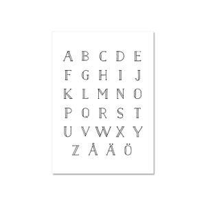 Image of AAKKOSET -juliste A4, valkoinen, Design by Ilona