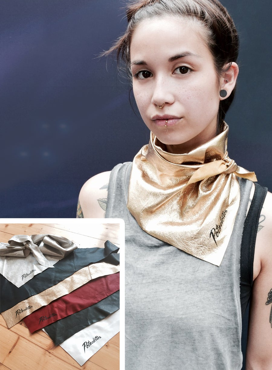 Image of leather scarf with Petrolettes logo