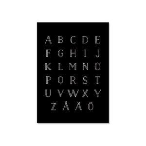 Image of AAKKOSET -juliste A4, musta, Design by Ilona