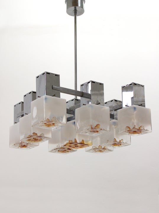 Image of Modernist Chandelier with Mazzega Glass Cubes, 1970s