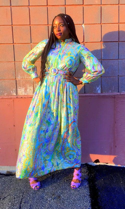 Image of 50s Metallic Paisley Gown