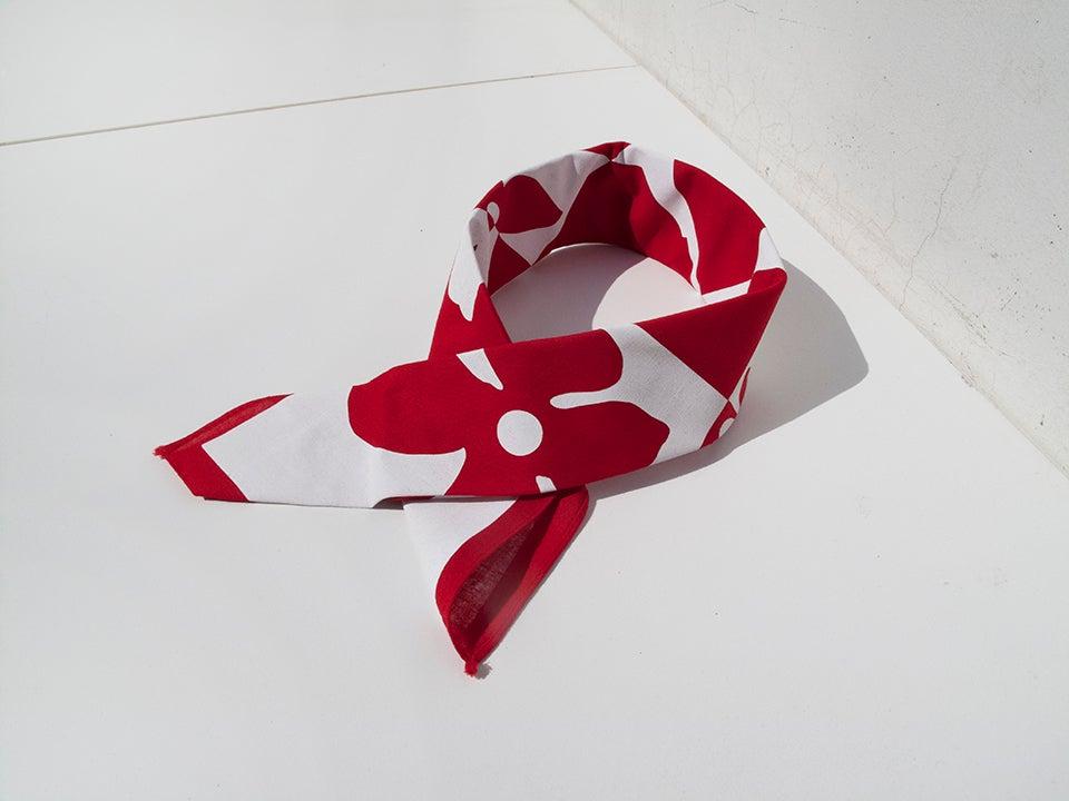 Image of Red Cherry Blossom Bandana