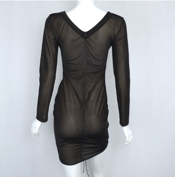Image of BLACK V-NECK OBLIQUE PACKAGE HIP DRESS
