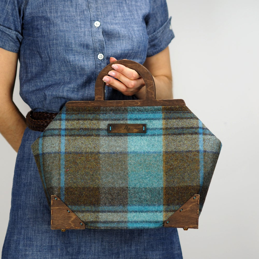 Image of Framed Handbag in Longleat Wool Plaid Handmade in London England