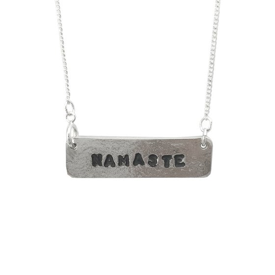 Image of Stamped Necklace Namaste