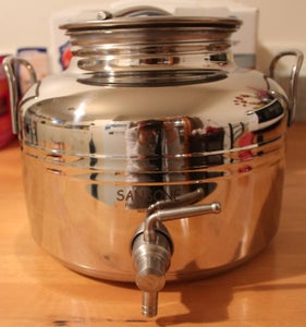Image of Stainless Steel Tank with tap and stand (empty) - 5 litre - 18/10 - Made in Italy.
