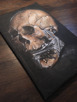 Image of JEREMY WORST Skull 2016 Canvas print skulls zombie mummy Artwork Signed Print poster