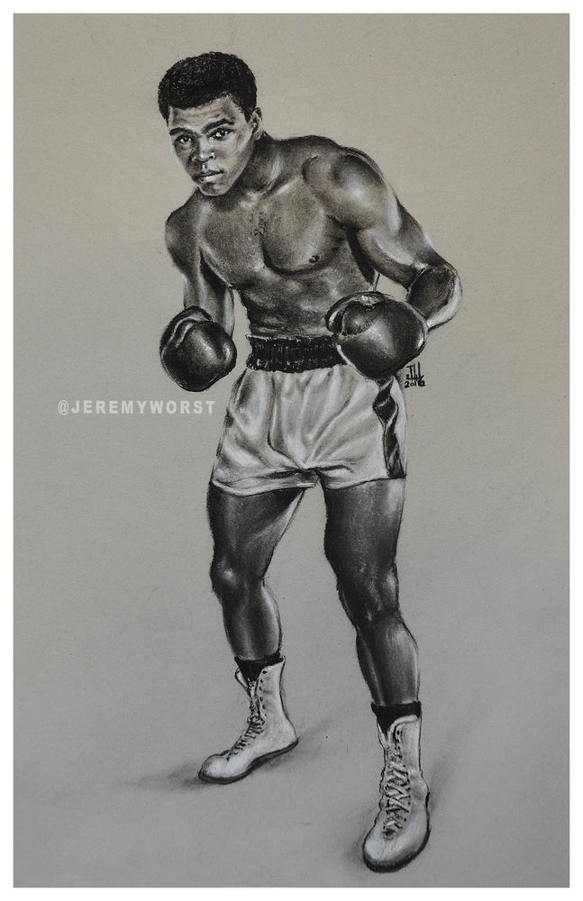 """Image of JEREMY WORST """" Muhammad Ali """" Sketch Artwork Signed Fine Art Print Great gift Cassius Clay"""