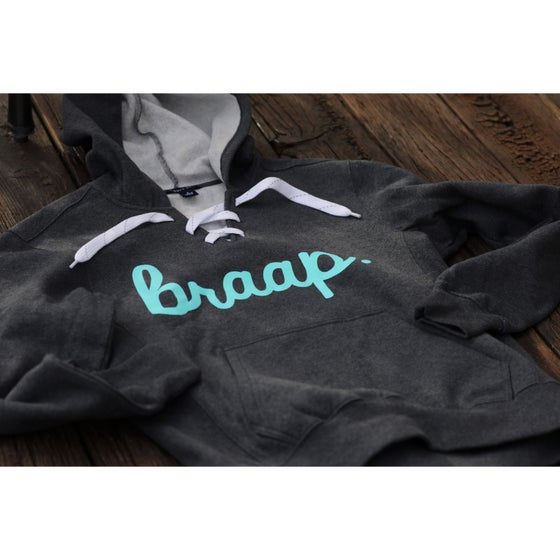 Image of Dark Grey Braap Lace Up Hoodie with Teal Print