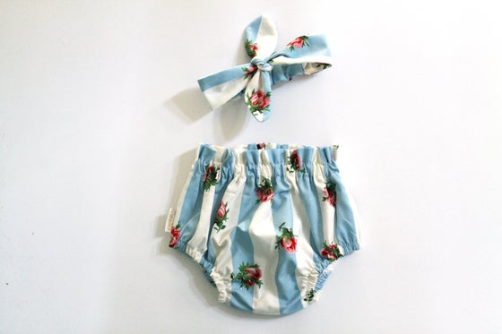 Image of Top Knot Set - Vintage Rose Stripe