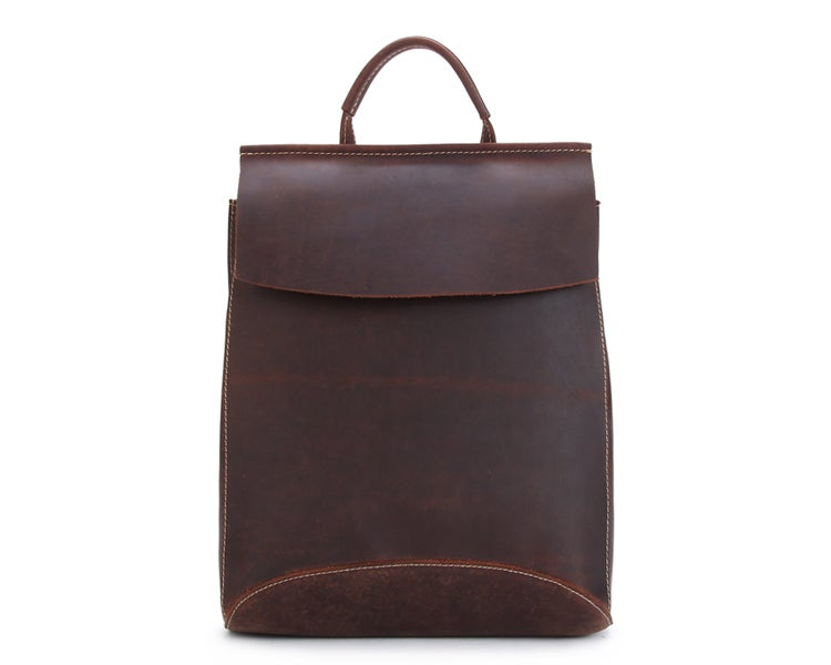 Image of Handcrafted Vintage Style Top Grain Leather Backpack Travel Backpack Unisex Backpack 8904