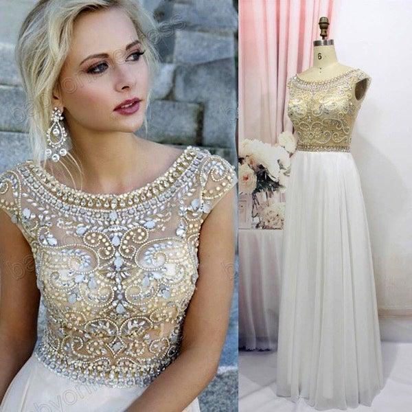 Image of Chiffon A Line Prom Dresses with Handmade Beadings