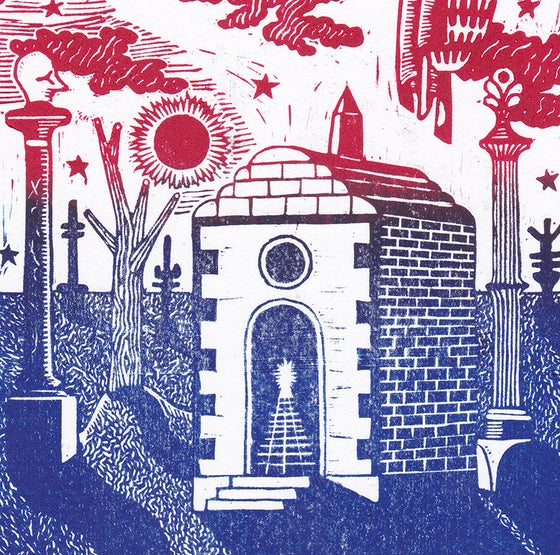 Image of 'Mausoleum' Linocut - Blue and Pink Fade