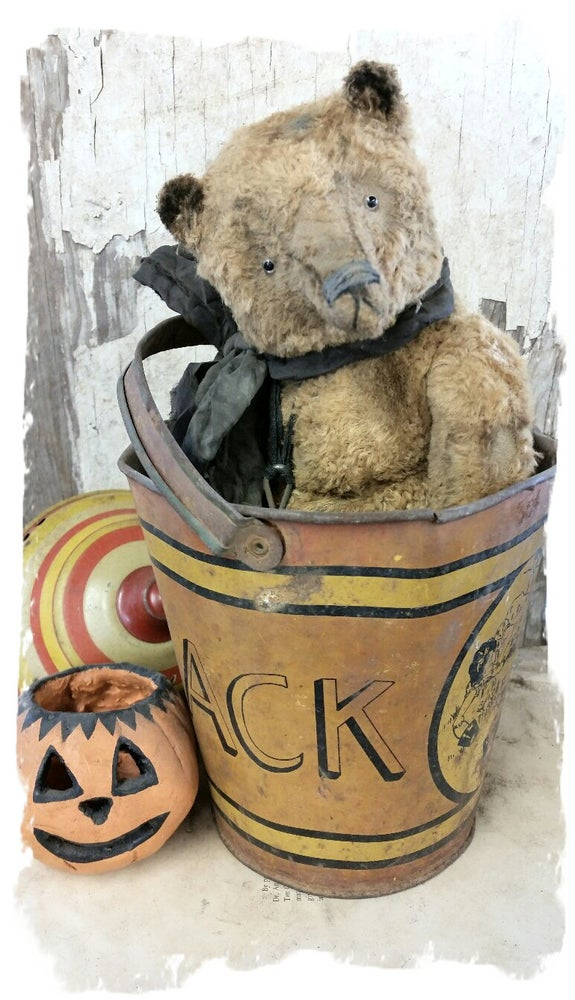"Image of Old & Worn GOLD Teddy Bear - 12.5"" w/ antique padlock By Whendi's Bears"