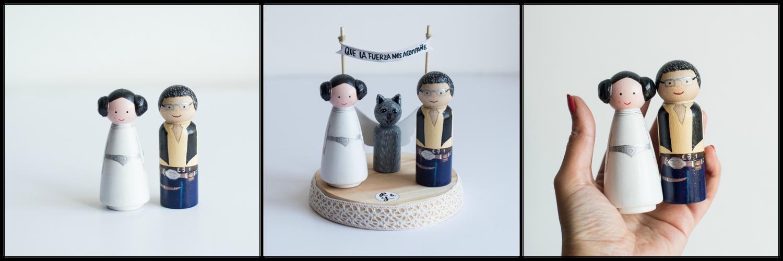 Image of Figuras de madera para tarta de Boda, especial para Frikis de corazón