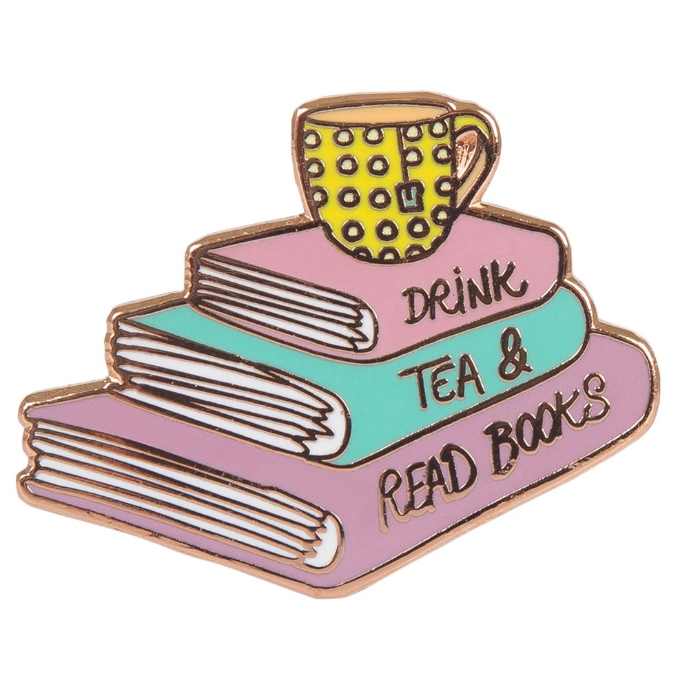 Image of Drink Tea & Read Books Enamel Pin