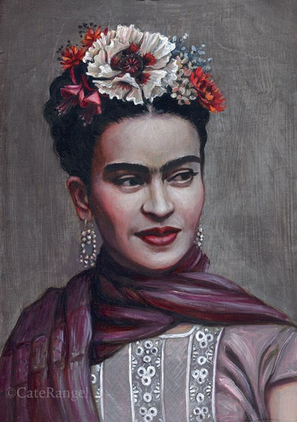 Image of Frida with White Poppy - Framed Original Oil Painting SOLD