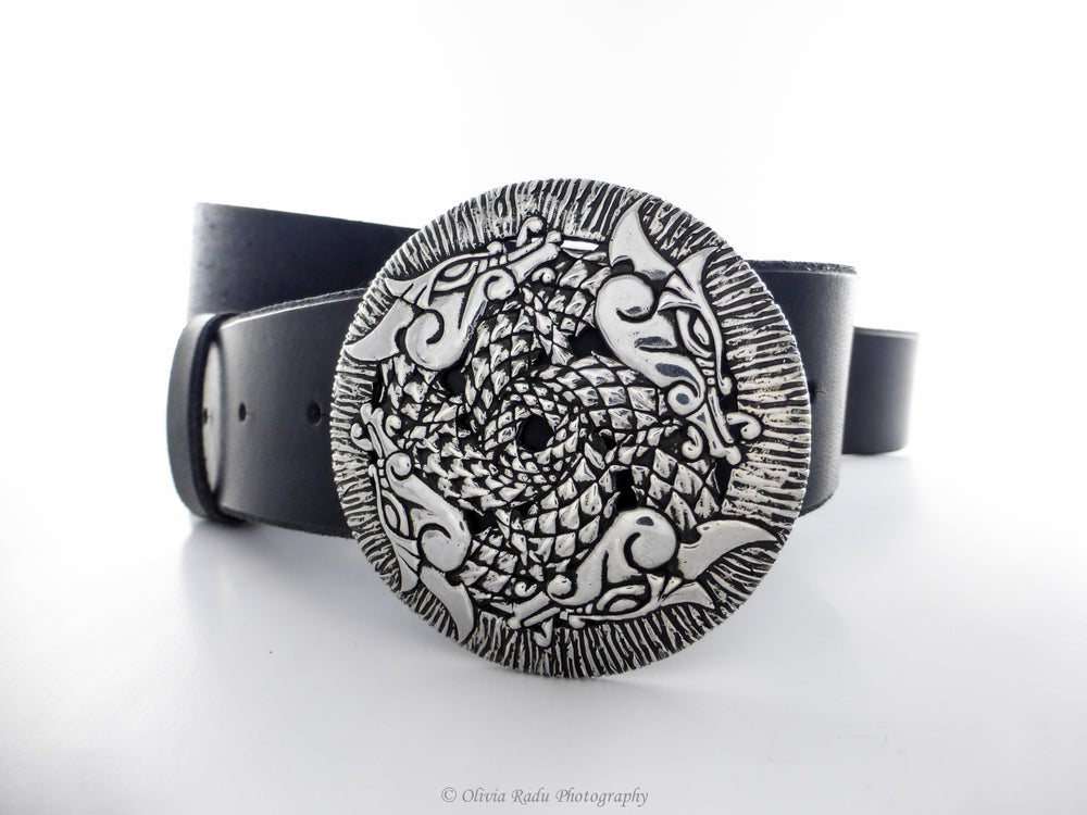 Image of 4 dragons - viking belt buckle