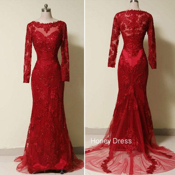 Image of Red Lace Long Sleeves Sheath Evening Gown With Sweep Train