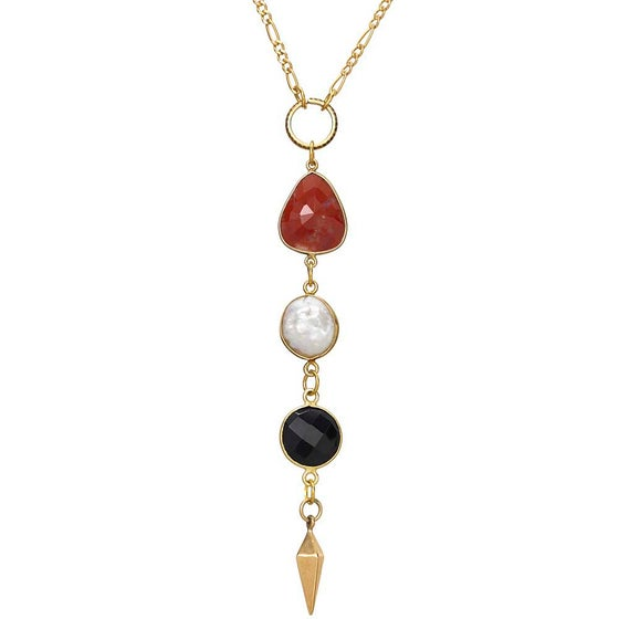 Image of ZOLA ONYX & PEARL NECKLACE