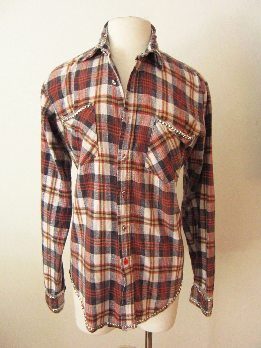 Image of Custom Studded Vintage Flannel