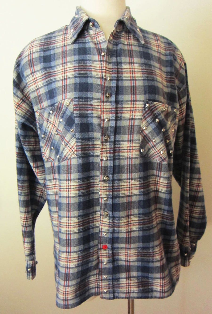 Image of Custom Studded Vintage Flannel Blue