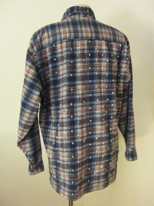 Image of Custom Studded Vintage Flannel Blue