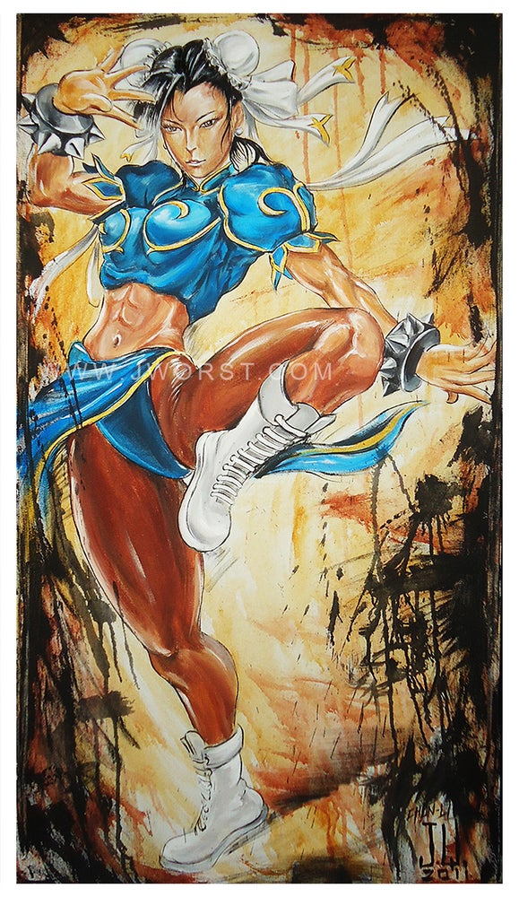Image of JEREMY WORST Chun Li Sexy girl Artwork Fine Art Print pin up