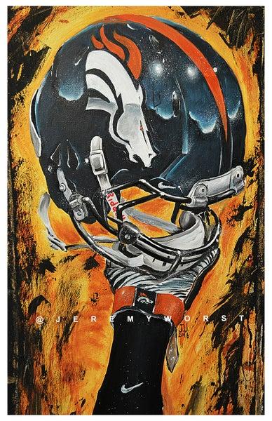 Image of JEREMY WORST Denver Broncos Nation Painting Canvas Print Artwork helmet art