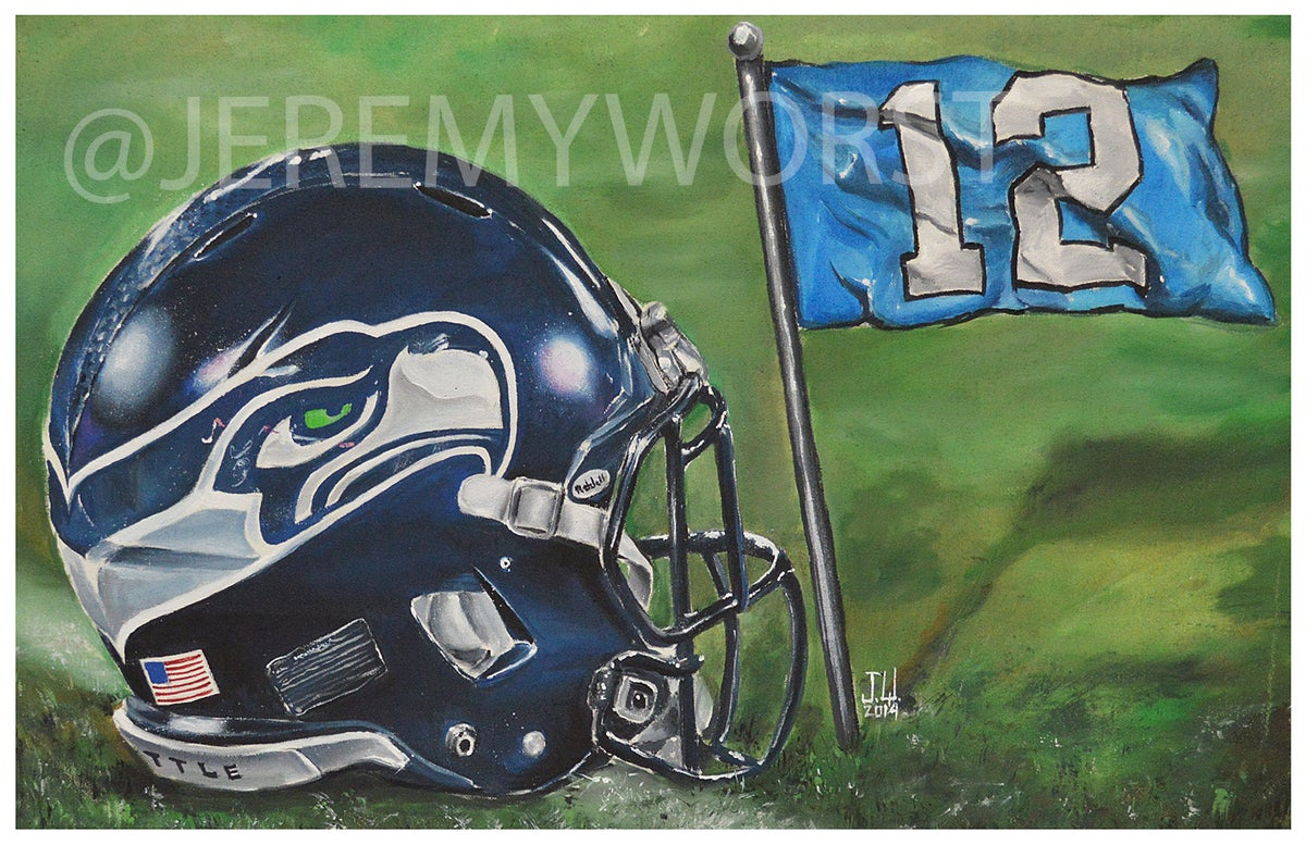 Football Helmet Painting : Jeremy worst seattle seahawks painting print artwork