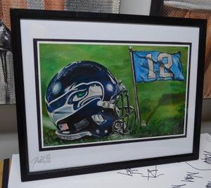 Image of JEREMY WORST Seattle Seahawks Painting Print Artwork helmet nfl football helmet player sports