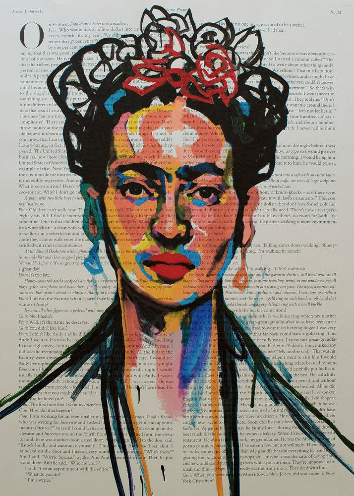 Image of Frida Kahlo Art Print on Newspaper. Limited Edition № 40 of 50. Signed and numbered.