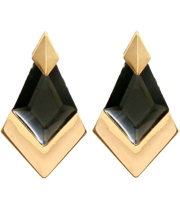 Image of Gold Statement Stone Earrings (More Color)