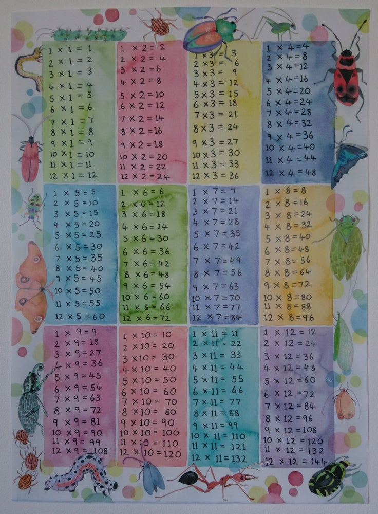 Image of Dotty Insects times table chart.