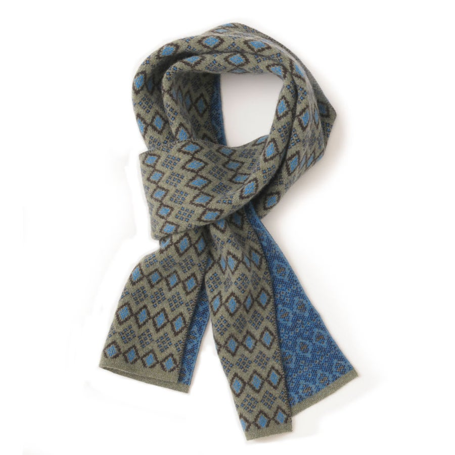 Image of African Diamond Scarf in Khaki x Sky
