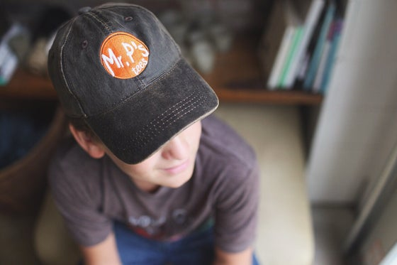 Image of Dark Brown Weathered Mr P's Logo hat