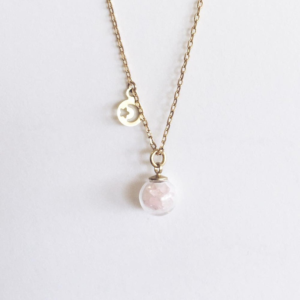 Image of Little Pieces of Rose Quartz - gold or silver