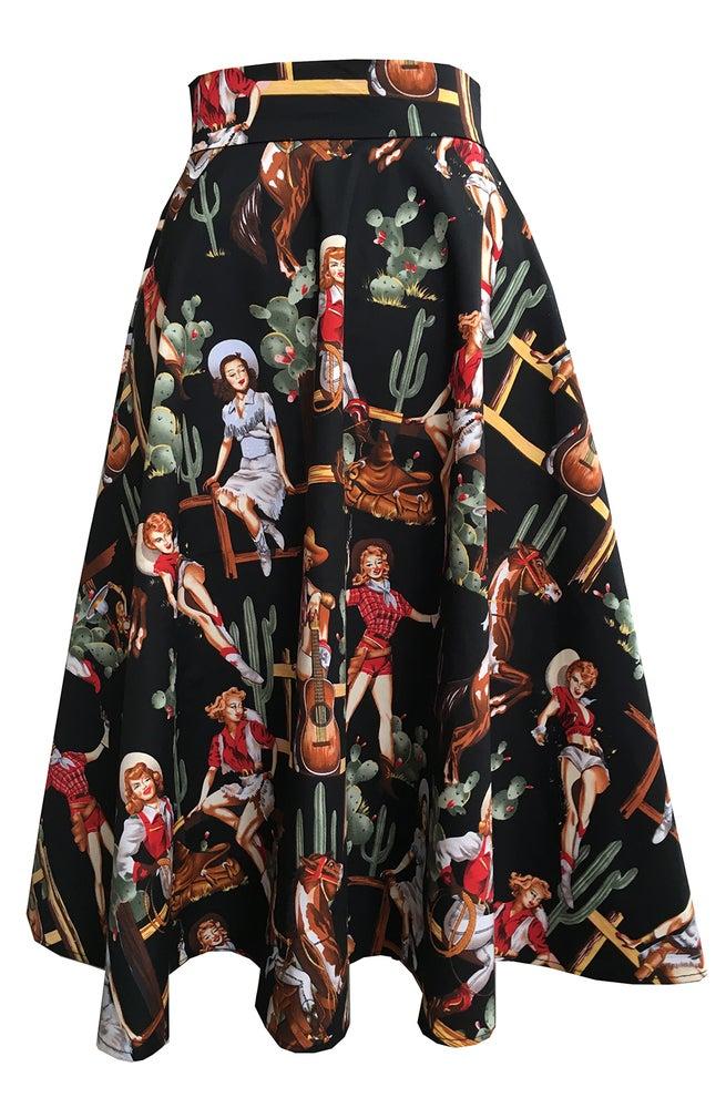 Image of Western print swing skirt