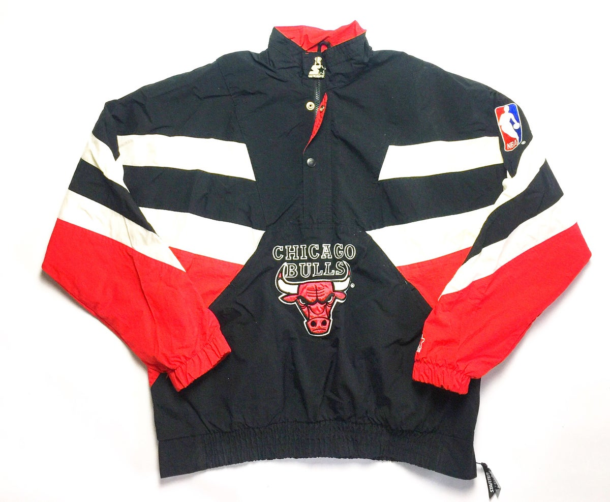 vintagelifestyle chicago bulls starter pullover jacket. Black Bedroom Furniture Sets. Home Design Ideas