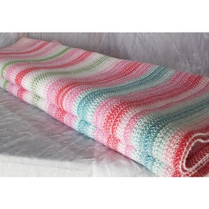 Image of Woven Baby Wrap US 6 - Pinks White Turquoise Aqua Green and White, Cotton/Linen Blend / Handwoven