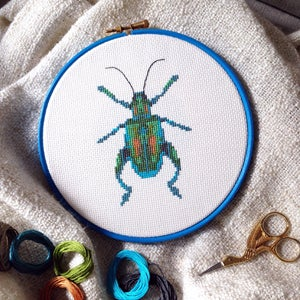 Image of Turquoise Beetle cross-stitch PDF pattern