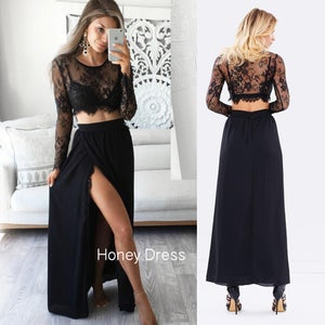 Image of Sexy Sliver Two Piece Prom Dress, Cap Sleeves Lace Prom Dress, Side Slit Long Dress