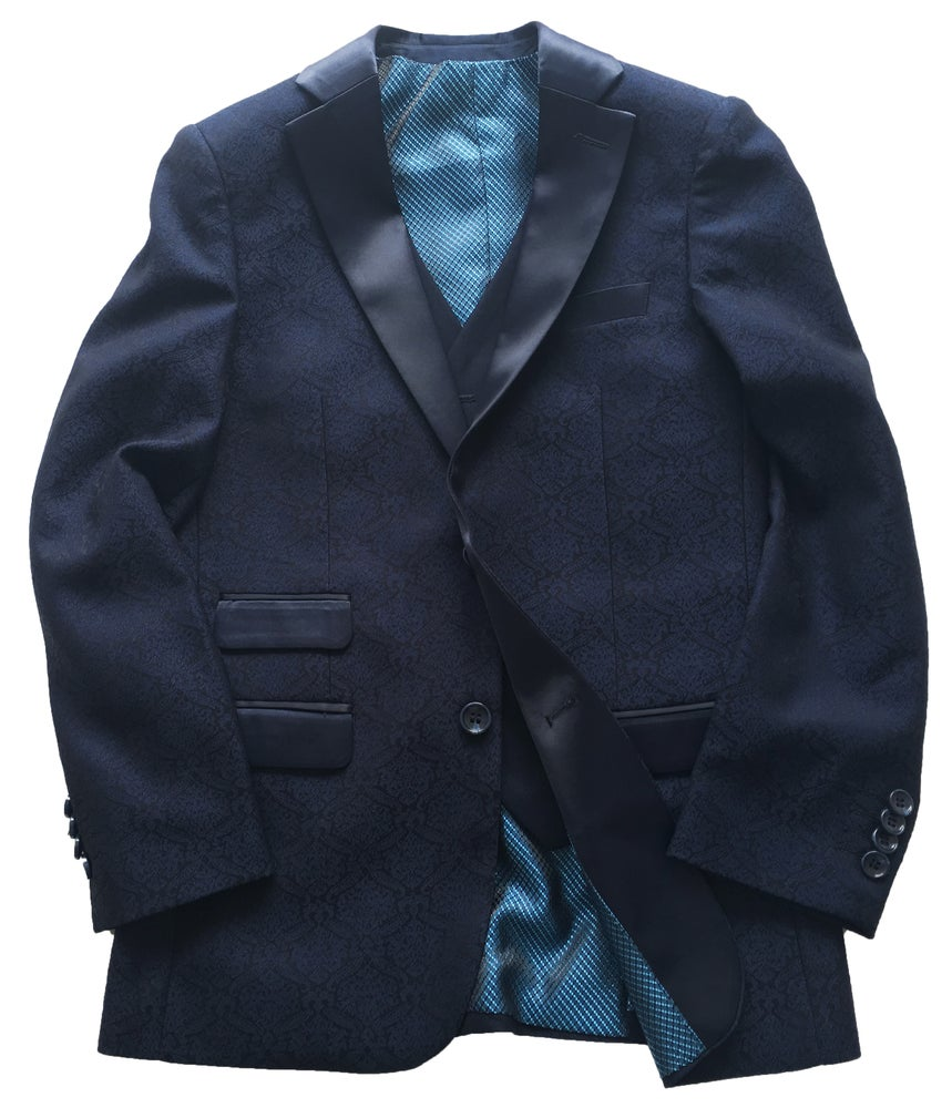 Image of Navy 3 Piece Brocade Dinner Suit