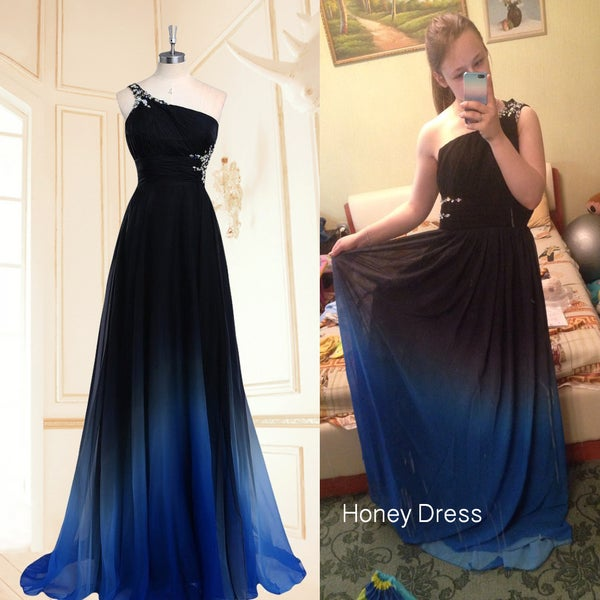 Image of One-Shoulder Beading Backless Prom Dress, Personality Design Floor Length Chiffon Evening Dress