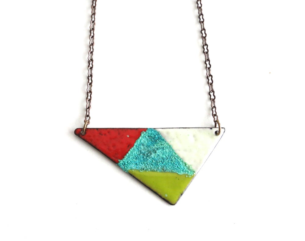 Image of Triangle Enamel Reversible Necklace
