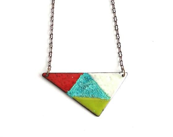 Image of Triangle Enamel Reversible Necklace