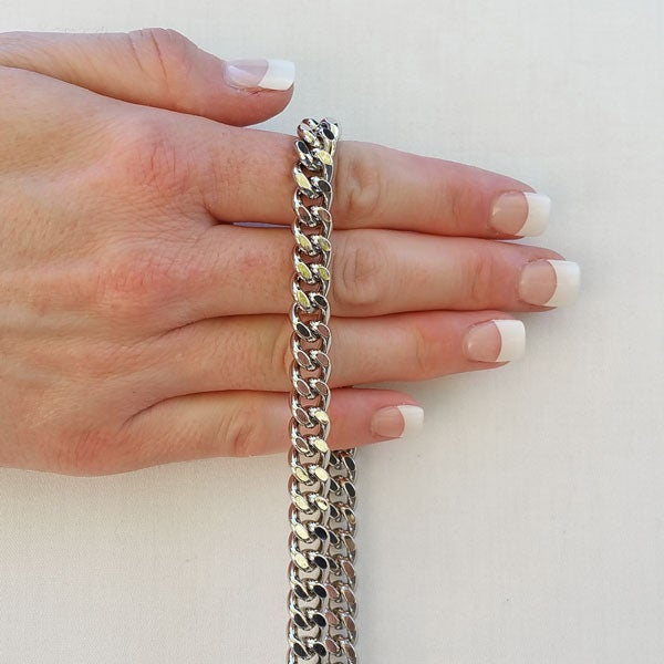 """Image of NICKEL Chain Bag Strap - NEW Classy Curb Diamond Cut Chain - 3/8"""" Wide - Choose Length & Hook Style"""