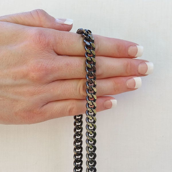 "Image of GUNMETAL Chain Bag Strap - NEW Classy Curb Diamond Cut Chain - 3/8"" Wide - Choose Length & Hooks"
