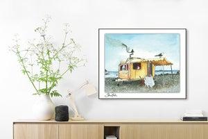 Image of Vintage Caravan Seaside PRINT