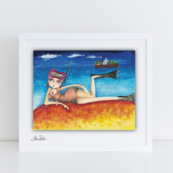 Image of Bathing Lady Snorkling PRINT